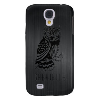 Black Owl Over Metallic Brushed Aluminum-Monogram Galaxy S4 Case
