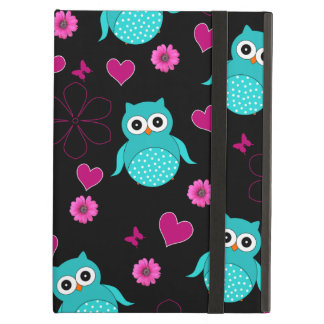 Black owl pattern pink flowers hearts iPad air cover
