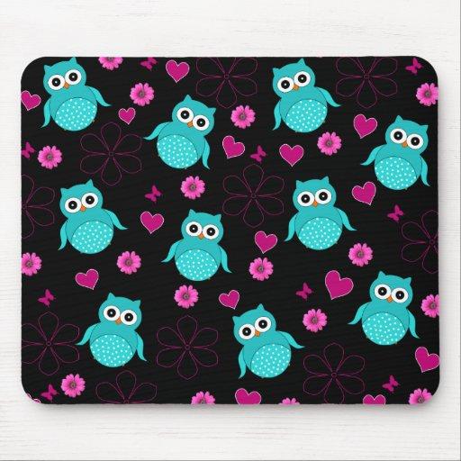 Black Owl pattern pink hearts flowers Mousepads