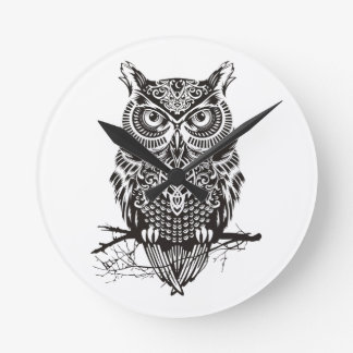 Black Owl Round Clock