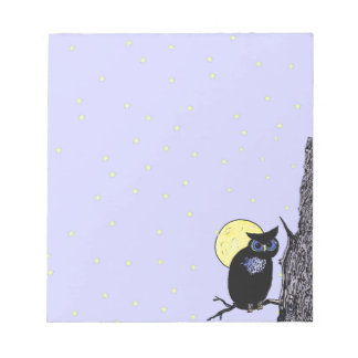 Black Owl Tree Moon Stars Notepad