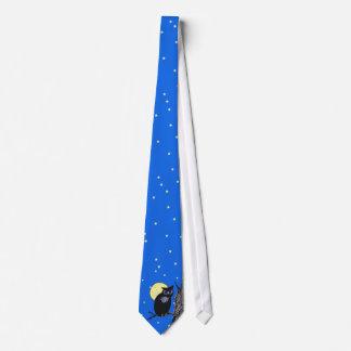 Black Owl Tree Moon Stars Tie