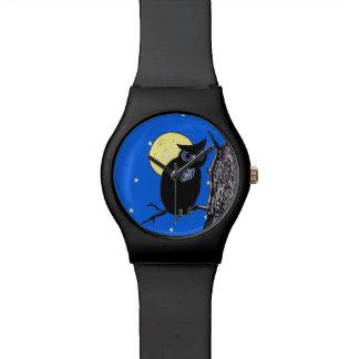 Black Owl Tree Moon Stars Watch