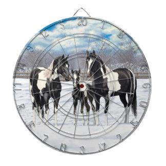 Black Paint Horses In Snow Dartboard
