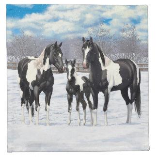 Black Paint Horses In Snow Napkin