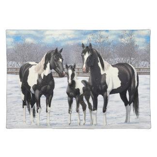 Black Paint Horses In Snow Placemat