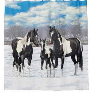 Black Paint Horses In Snow Shower Curtain