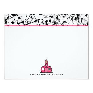 "Black Paint Splatter Flat Notecards For Teachers 4.25"" X 5.5"" Invitation Card"