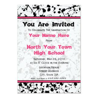 Black Paint Splatter Graduation Invitation - 2011