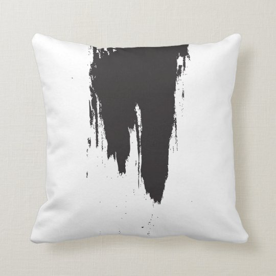 Black Paint Stroke Minimal Cushion