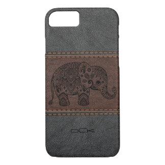 Black Paisley Elephant Over Vintage Leather iPhone 8/7 Case