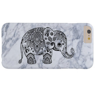 Black Paisley Elephant With White Marble Barely There iPhone 6 Plus Case