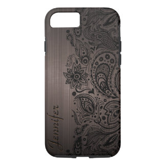 Black Paisley Lace Brown Background iPhone 8/7 Case