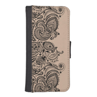 Black Paisley lace With Tan Background iPhone SE/5/5s Wallet Case