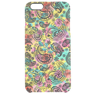 Black Paisley On Colorful Background Clear iPhone 6 Plus Case