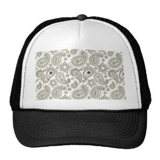 Black Paisley on White Mesh Hats