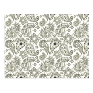 Black Paisley on White Postcard