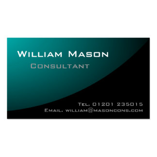 Black Pale Blue Curved Professional Business Card