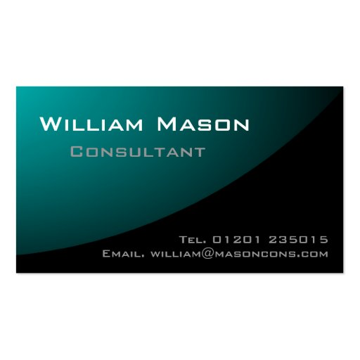 Black Pale Blue Curved, Professional Business Card