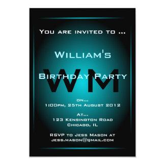 Black & Pale Blue Glow Monogram Sci-fi  Invitation
