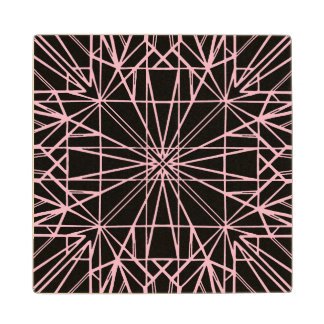 Black & Pale Pink Geometric Symmetry Wood Coaster