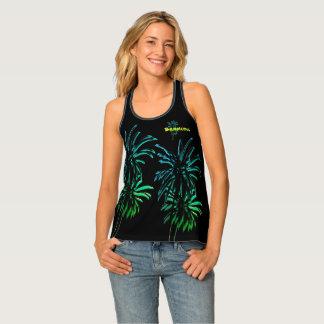 Black Palm Trees Customise Bermuda Vacation Neon Tank Top