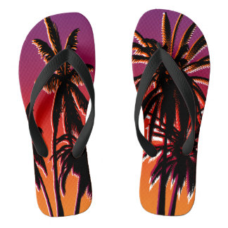 Black Palm Trees Purple Orange Fade Tahiti Retro Flip Flops