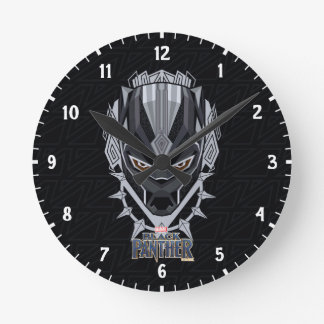 Black Panther | Black Panther Head Emblem Round Clock