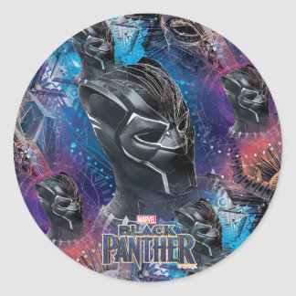 Black Panther | Black Panther & Mask Pattern Classic Round Sticker