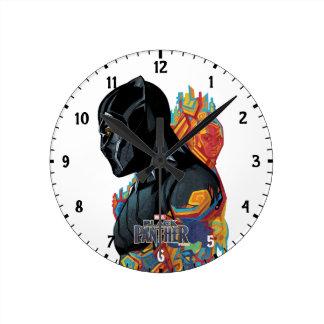 Black Panther | Black Panther Tribal Graffiti Round Clock
