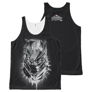 Black Panther   Black & White Head Sketch All-Over Print Tank Top