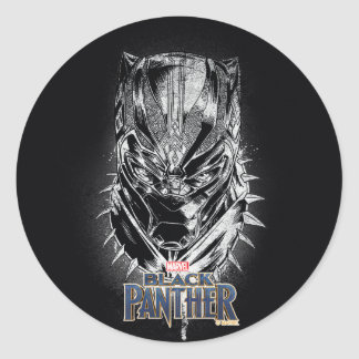 Black Panther | Black & White Head Sketch Classic Round Sticker