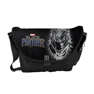 Black Panther | Black & White Head Sketch Courier Bag