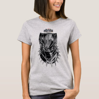 Black Panther | Black & White Head Sketch T-Shirt