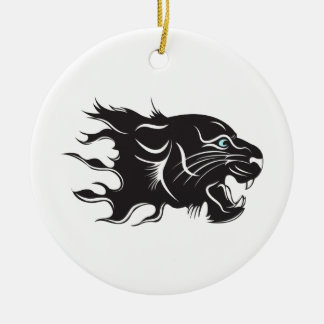 Black Panther Blue Eyes Christmas Ornament