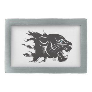 Black Panther Blue Eyes Rectangular Belt Buckle