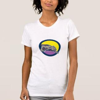 Black Panther Crouching Circle Cartoon Shirts