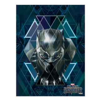 Black Panther | Geometric Character Pattern Poster