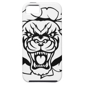 Black Panther Golf Mascot Breaking Background Tough iPhone 5 Case