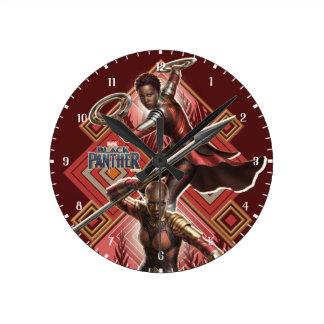Black Panther | Nakia & Okoye Wakandan Graphic Round Clock