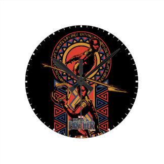Black Panther | Okoye & Nakia Wakandan Panel Round Clock