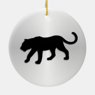 Black Panther on Silver Christmas Ornament