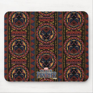 Black Panther | Panther Head Tribal Pattern Mouse Mat