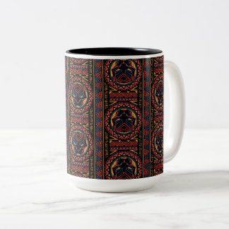 Black Panther | Panther Head Tribal Pattern Two-Tone Coffee Mug