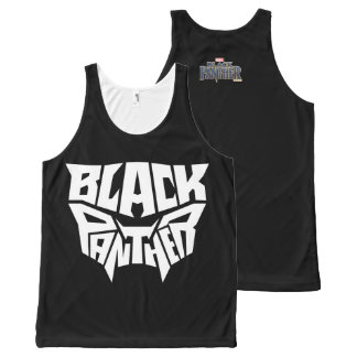 Black Panther   Panther Head Typography Graphic All-Over Print Tank Top
