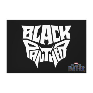 Black Panther | Panther Head Typography Graphic Canvas Print