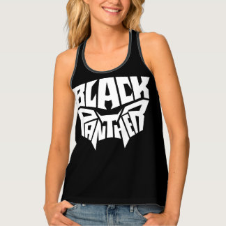 Black Panther   Panther Head Typography Graphic Tank Top