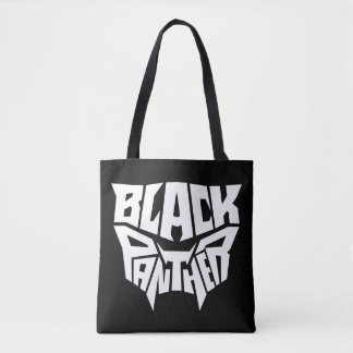 Black Panther   Panther Head Typography Graphic Tote Bag