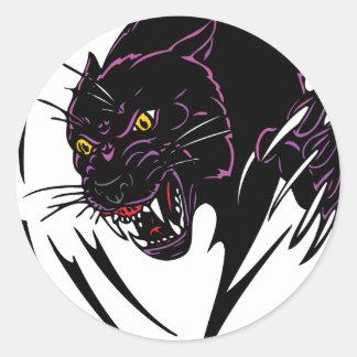 Black panther round sticker