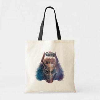 Black Panther | Tribal Mask Overlaid Art Tote Bag